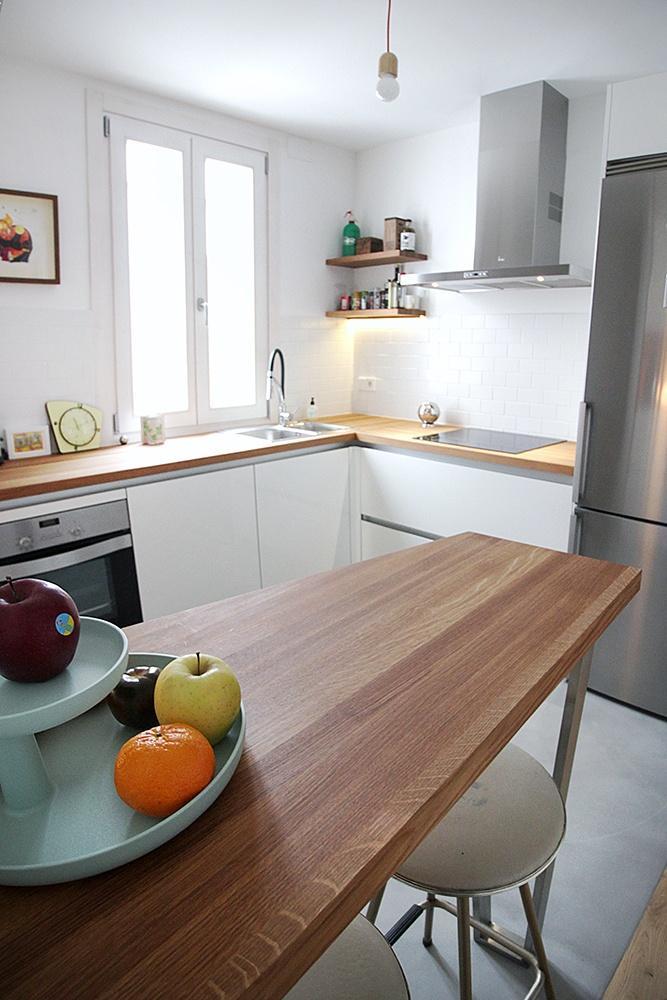 Cocina madera encimera blanca mueble de cocina blanca y encimera de teka with cocina madera - Cocina blanca encimera blanca ...