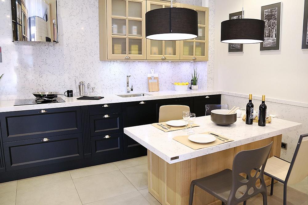 Silestone en cocinas cocina en madera lacada y silestone - Cocinas de silestone ...